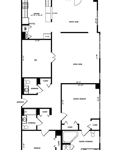 Two-bedroom with den