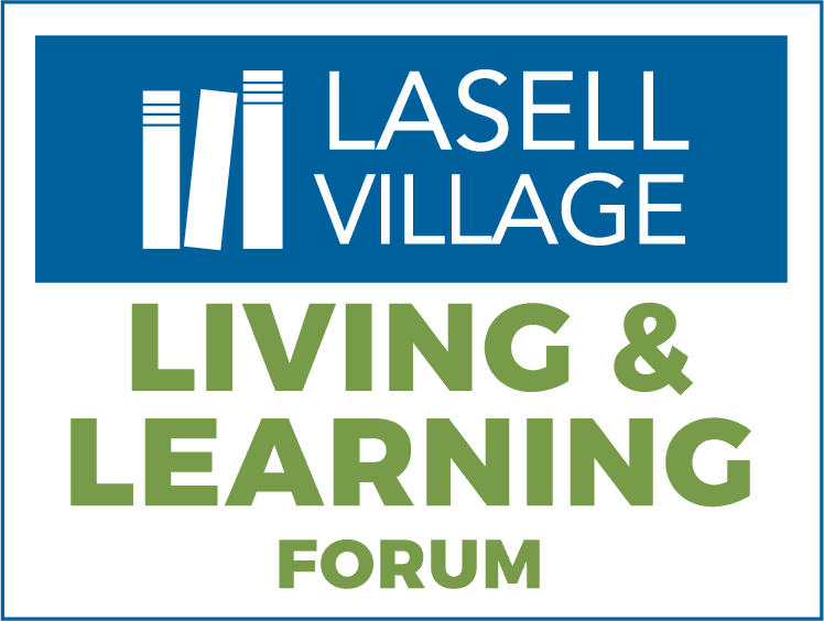 Lasell Village Living & Learning Forum logo with three books