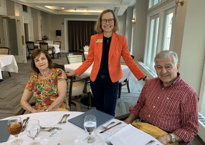 Picture of Anne Doyle, Former Governor Michael Dukakis, Kitty Dukakis, lunch table, Lasell Village